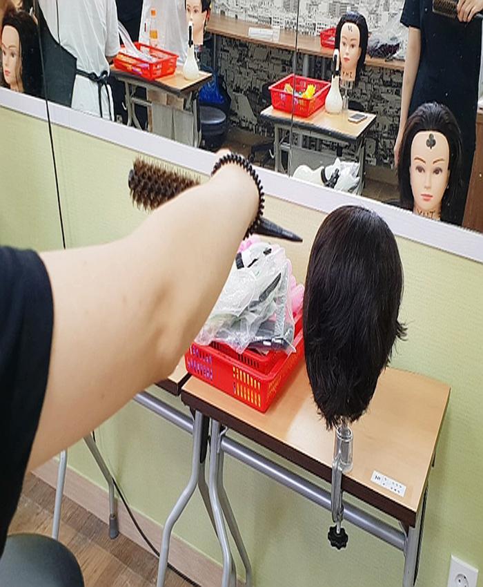 헤어반 학생 머리속으로 드라이 연습중!